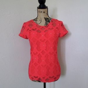 INC Bright Coral Jeweled Lace Short Sleeve Top XS
